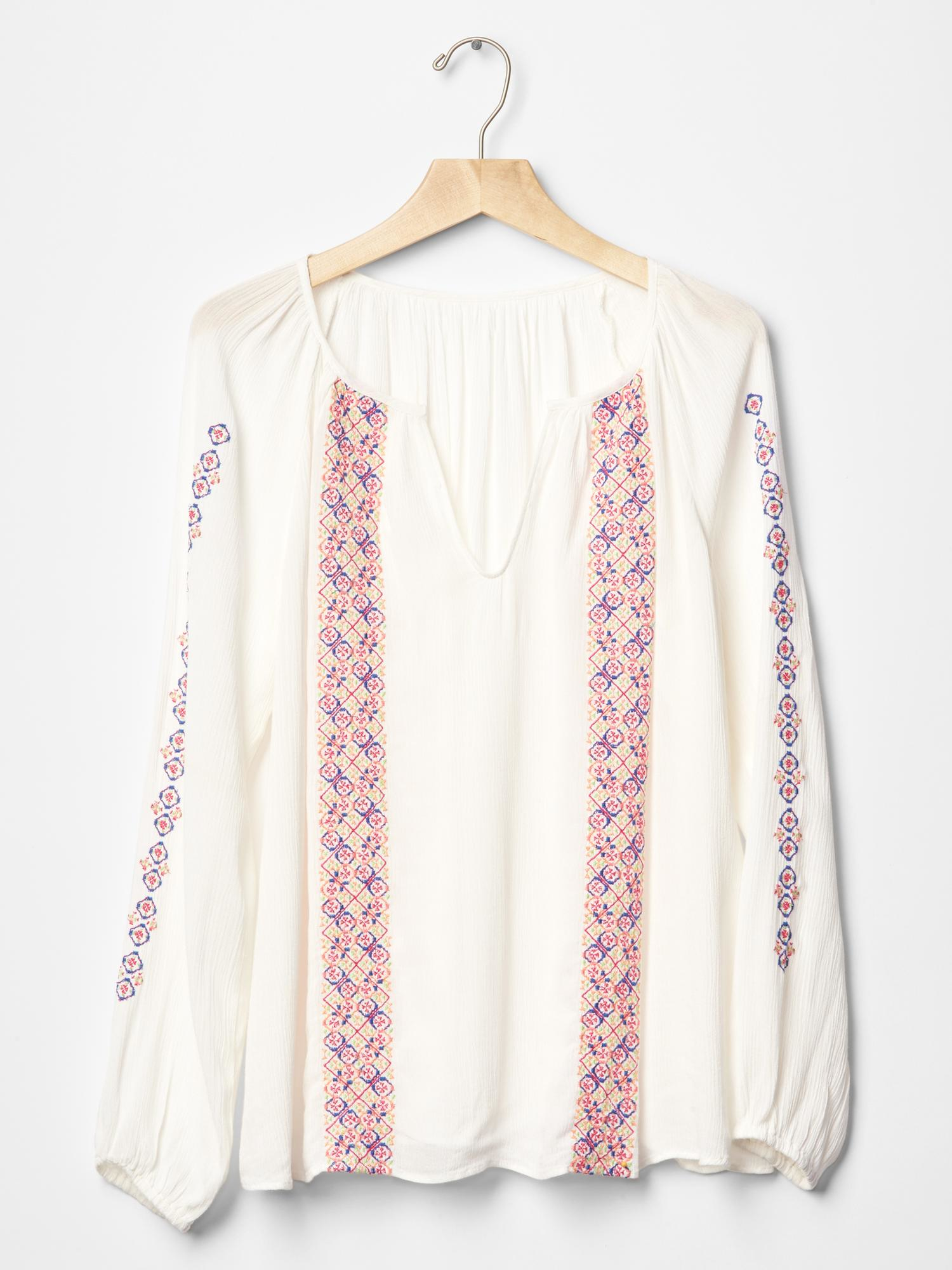 Peasant Blouse White Long Sleeve 72