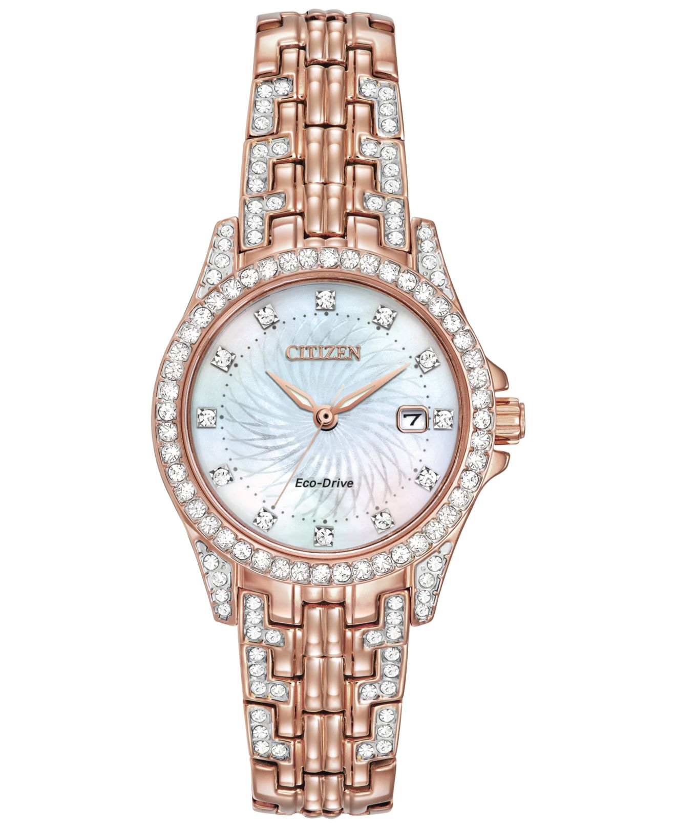 Citizen Women's Eco-drive Crystal Accent Rose Gold-tone ...