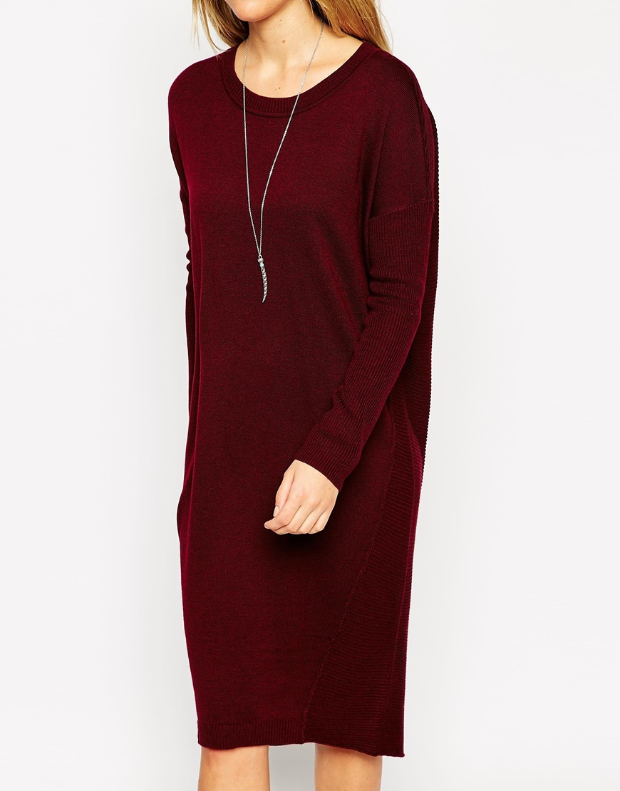 Asos Oversized Jumper Dress in Red | Lyst