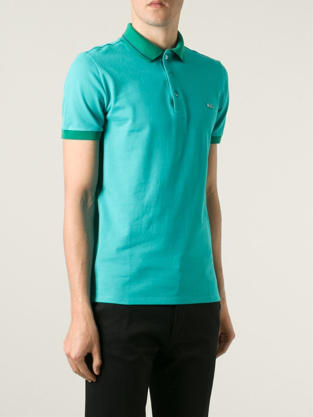 e225d538 Burberry Contrast Collar Polo Shirt in Green for Men - Lyst
