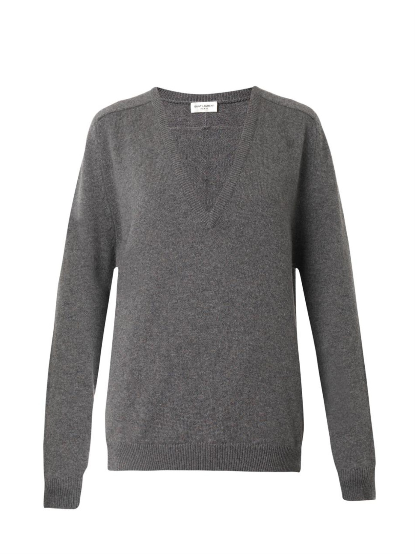 Saint laurent V-neck Cashmere Sweater in Gray | Lyst