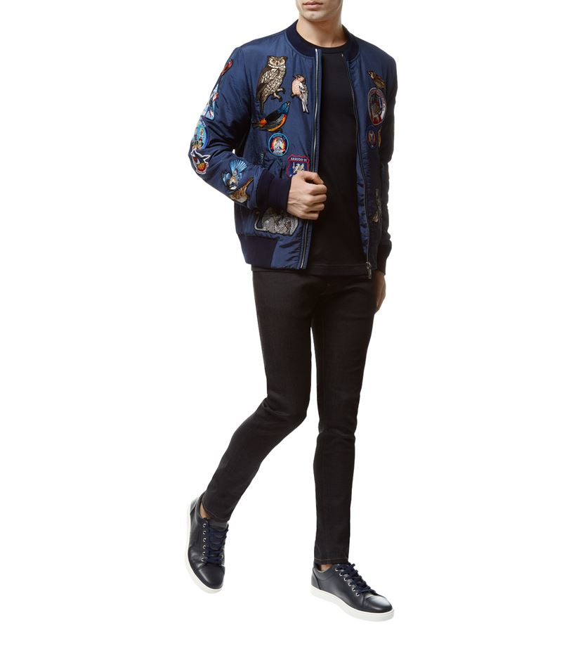 Dolce & Gabbana Synthetic Patchwork Bomber Jacket in Blue for Men