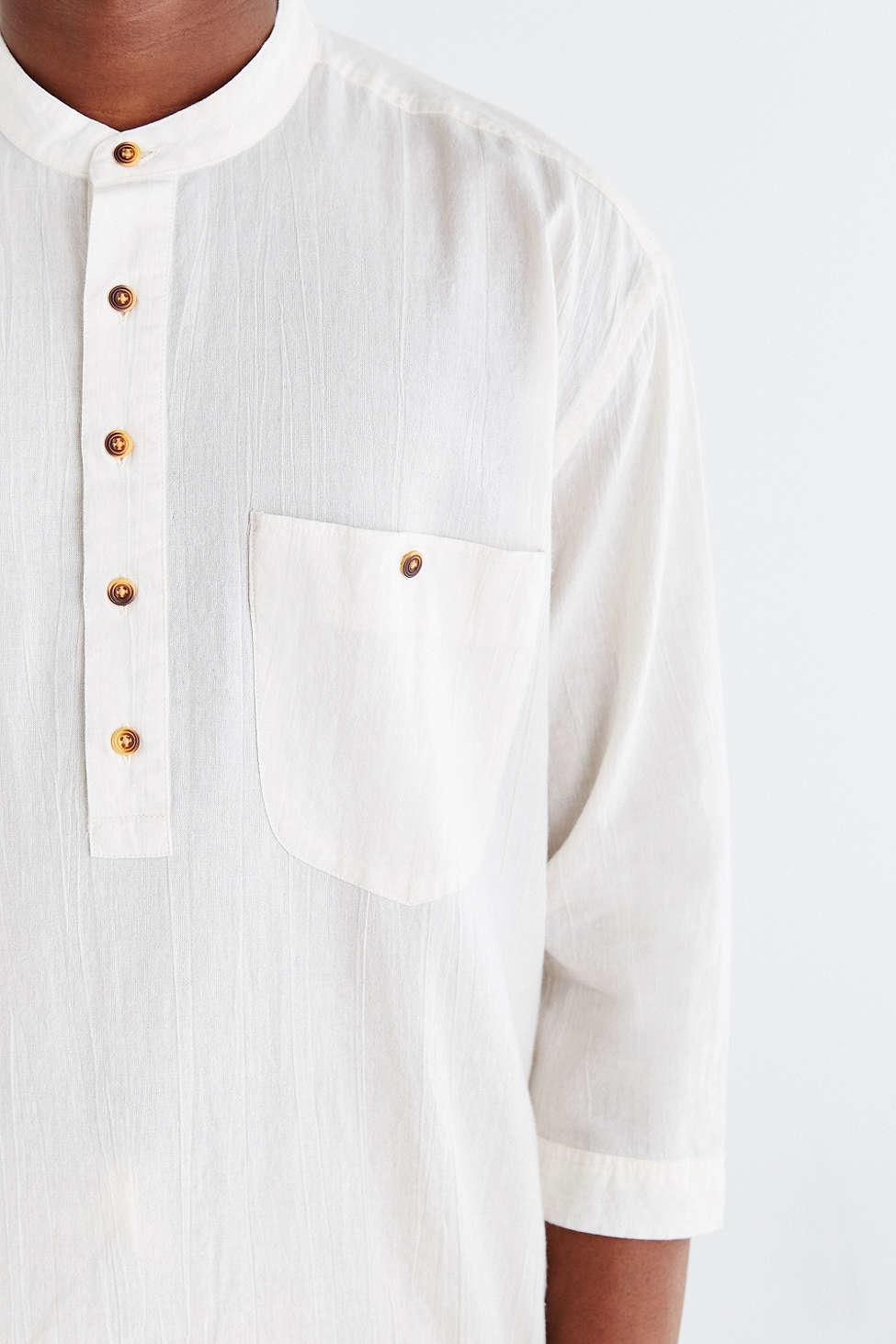 Koto half sleeve long split hem popover shirt in white for for Denim half sleeve shirt