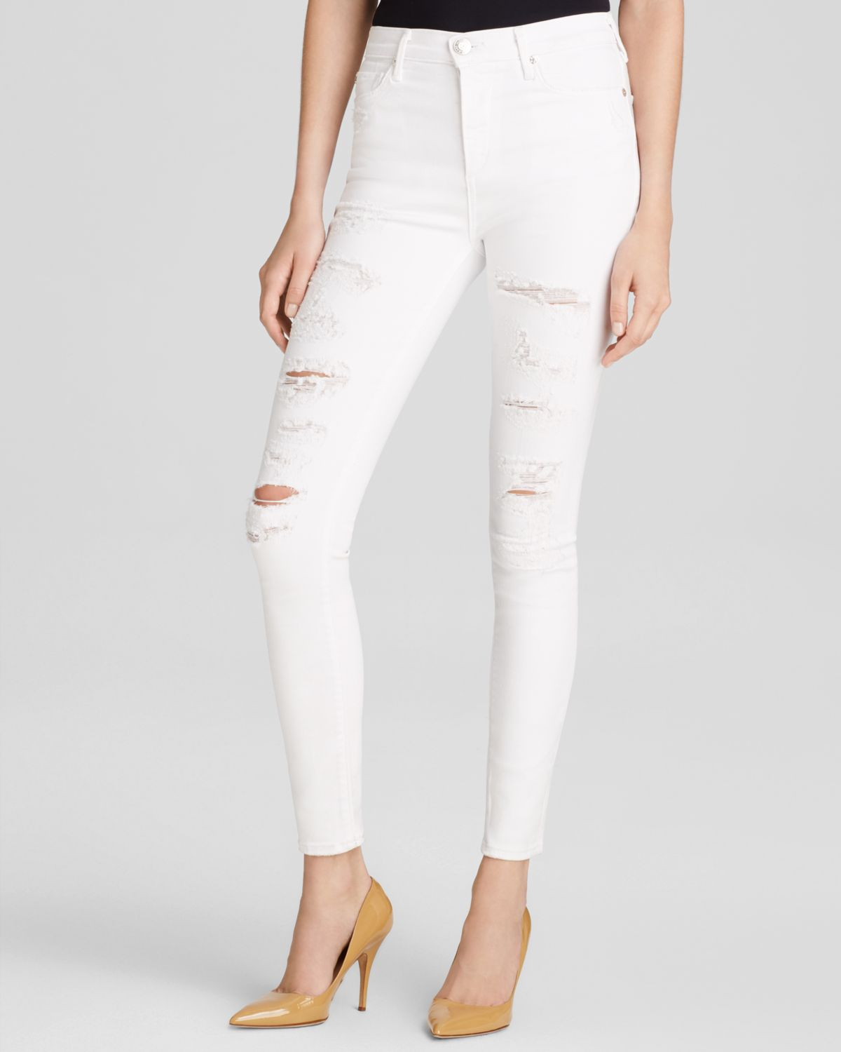 True religion Jeans - Hall High-rise Skinny In Destroyed Optic ...