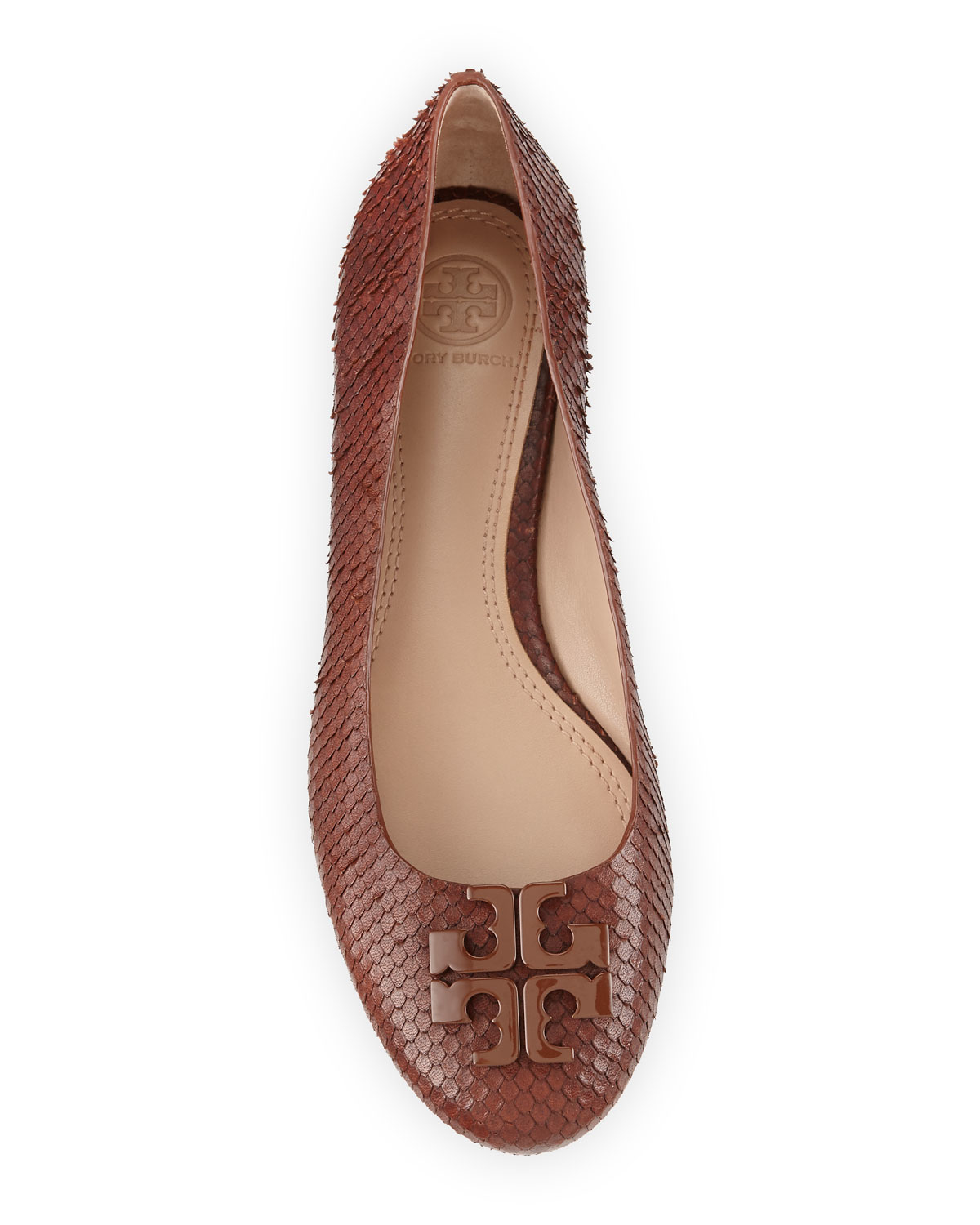9b953db266e2 authentic lyst tory burch lowell 2 snake smbossed ballet flats in brown  11fcf 0e1ea