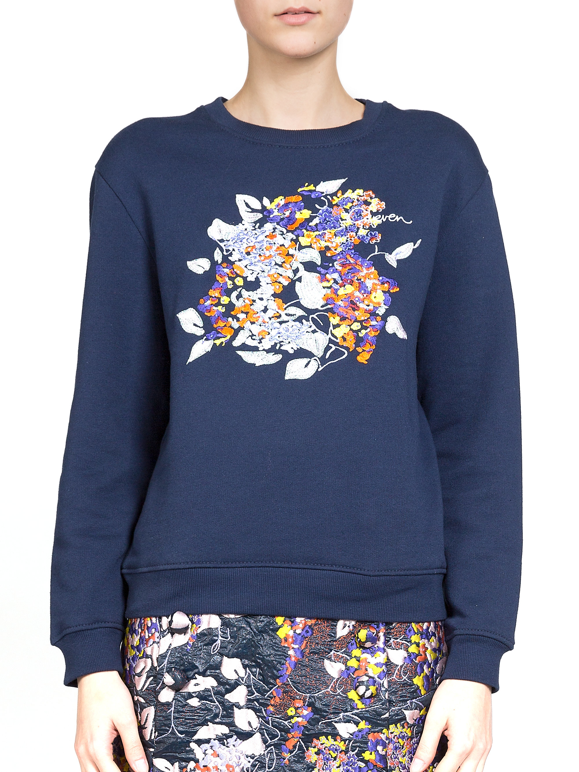 Carven floral embroidered sweatshirt in blue lyst
