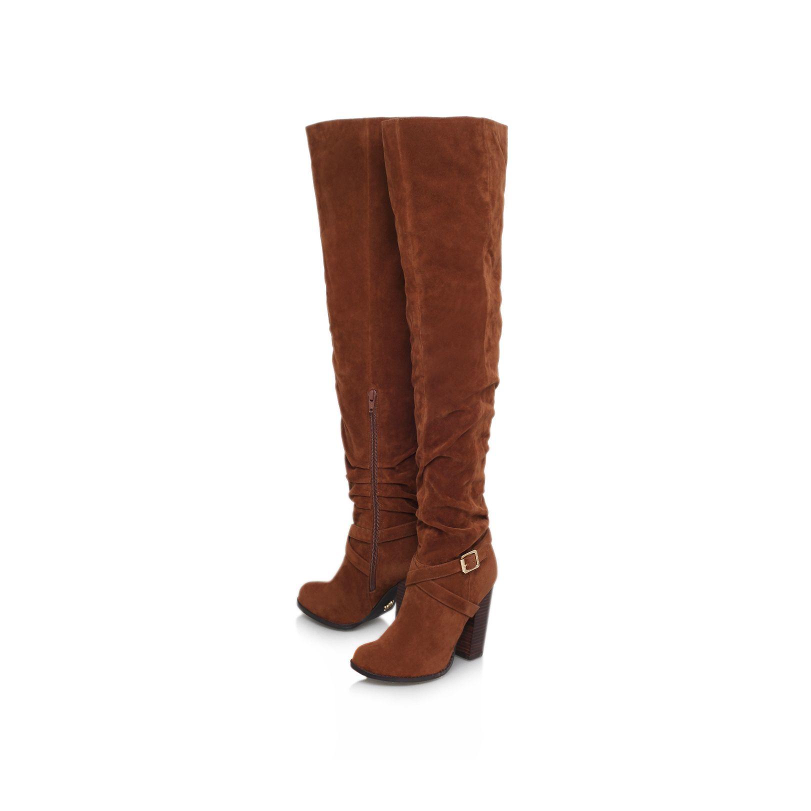 lipsy petal high heel knee boots in brown lyst