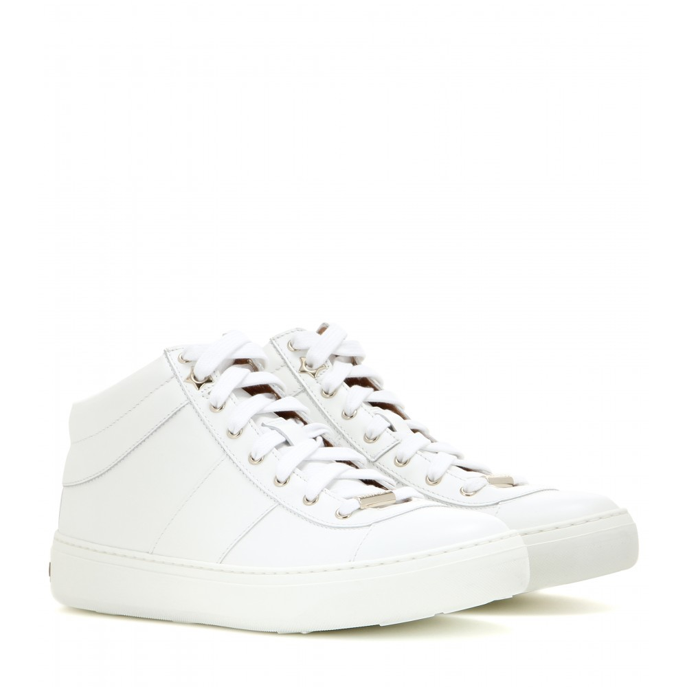 jimmy choo bells leather sneakers in white lyst. Black Bedroom Furniture Sets. Home Design Ideas