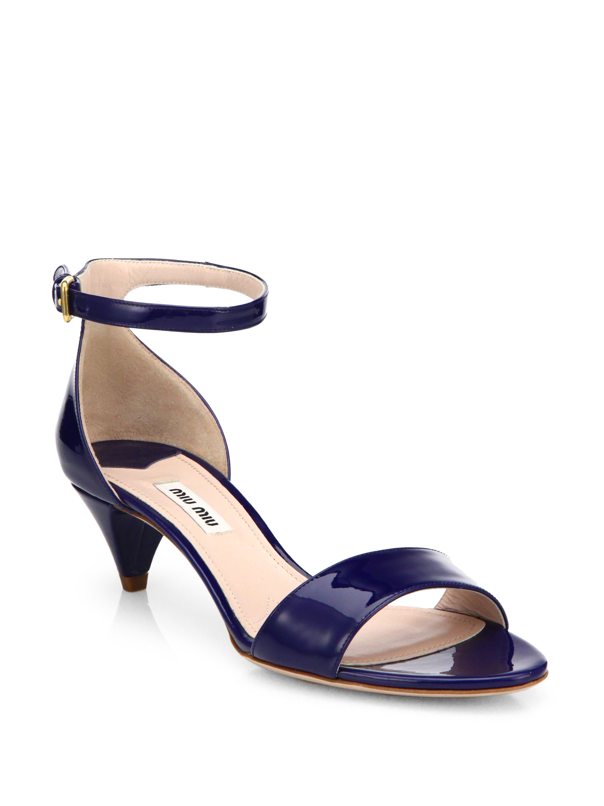 Miu miu Patent Leather Kitten Heel Sandals in Blue | Lyst