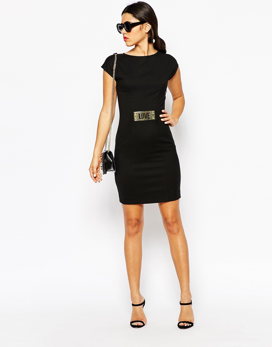 moschino belt dress in black lyst