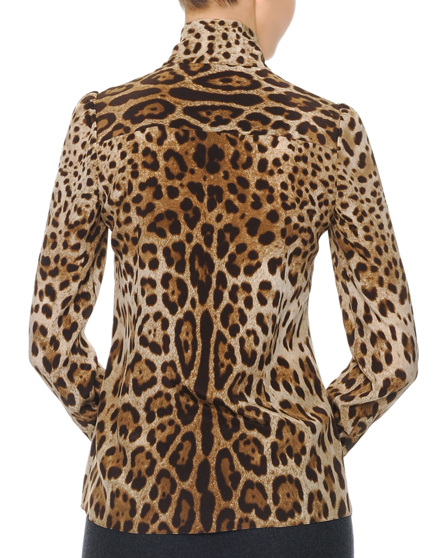 72536960016e Dolce & Gabbana Leopard Print Tie-Neck Silk Blouse - Lyst