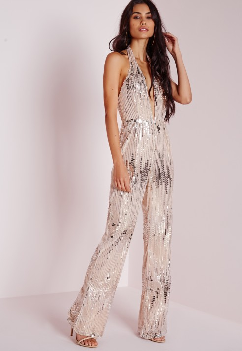 4f9b098ddc3 Missguided Sequin Halterneck Jumpsuit Silver in Metallic - Lyst