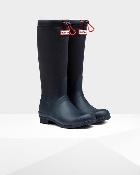 Hunter Women S Original Tour Neoprene Rain Boots In Blue