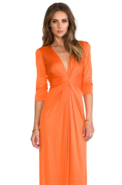 Issa Deep Vneck Silk Jersey Maxi Dress In Orange Lyst