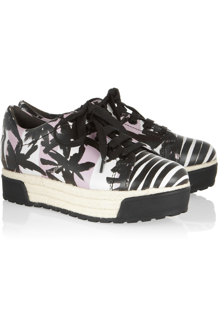 KENZO Palm Tree Print Leather and Raffia Sneakers in Black