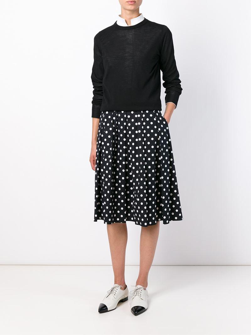 michael kors polka dot pleated skirt in black lyst