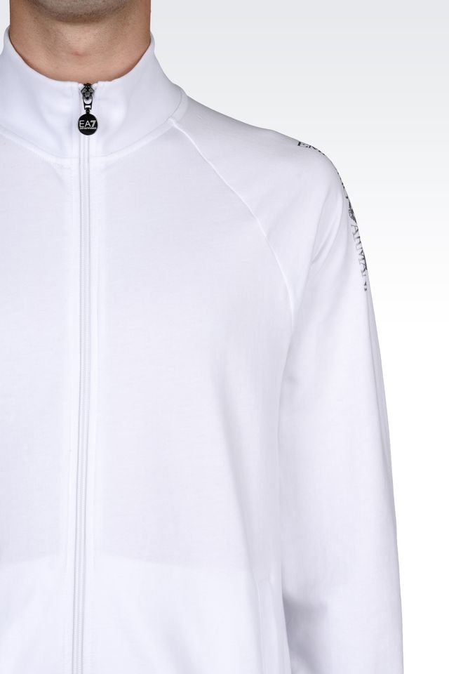Lyst Ea7 Zip Sweatshirt In White For Men