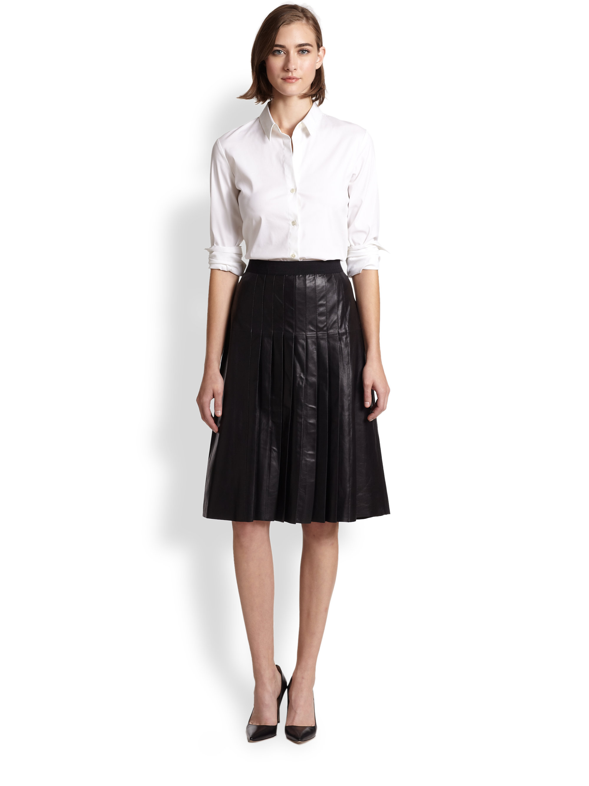 Vince Pleated Leather A-Line Skirt in Black | Lyst