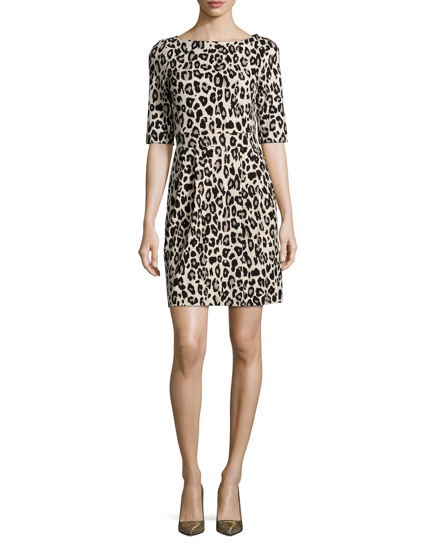 kate spade new york leopard print jersey mini dress lyst
