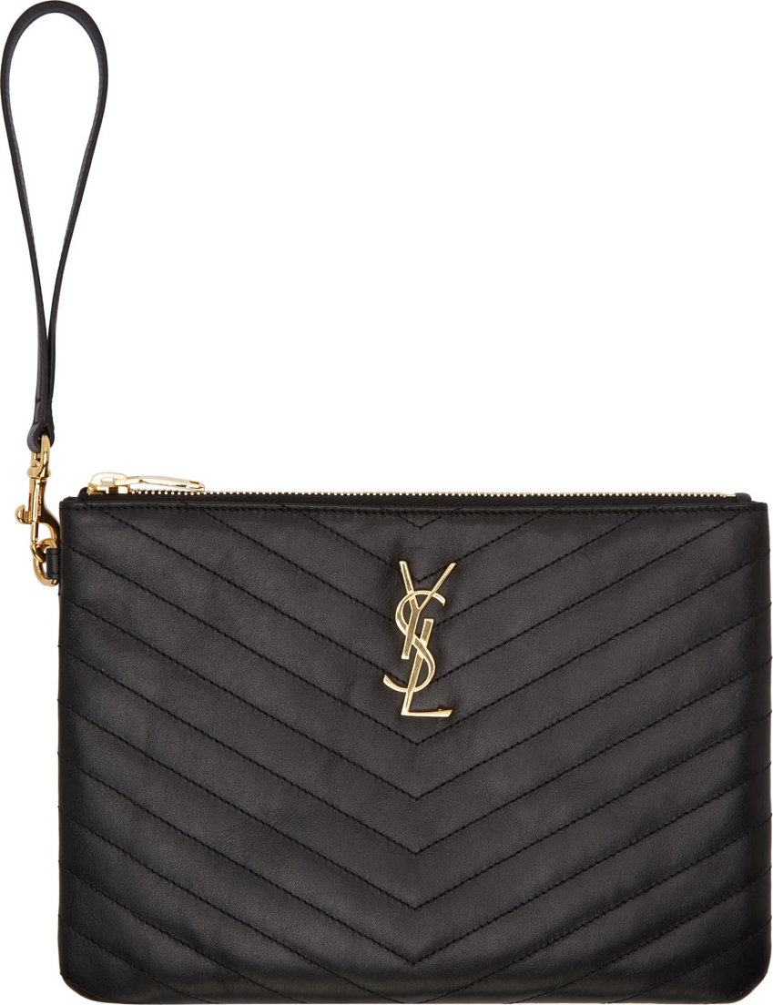 Lyst - Saint Laurent Black Quilted Leather Monogrammed Wristlet ... 33caa9e72000b