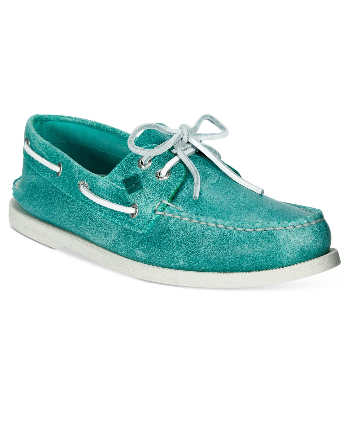 sperry top sider s a o white cap boat shoes in green