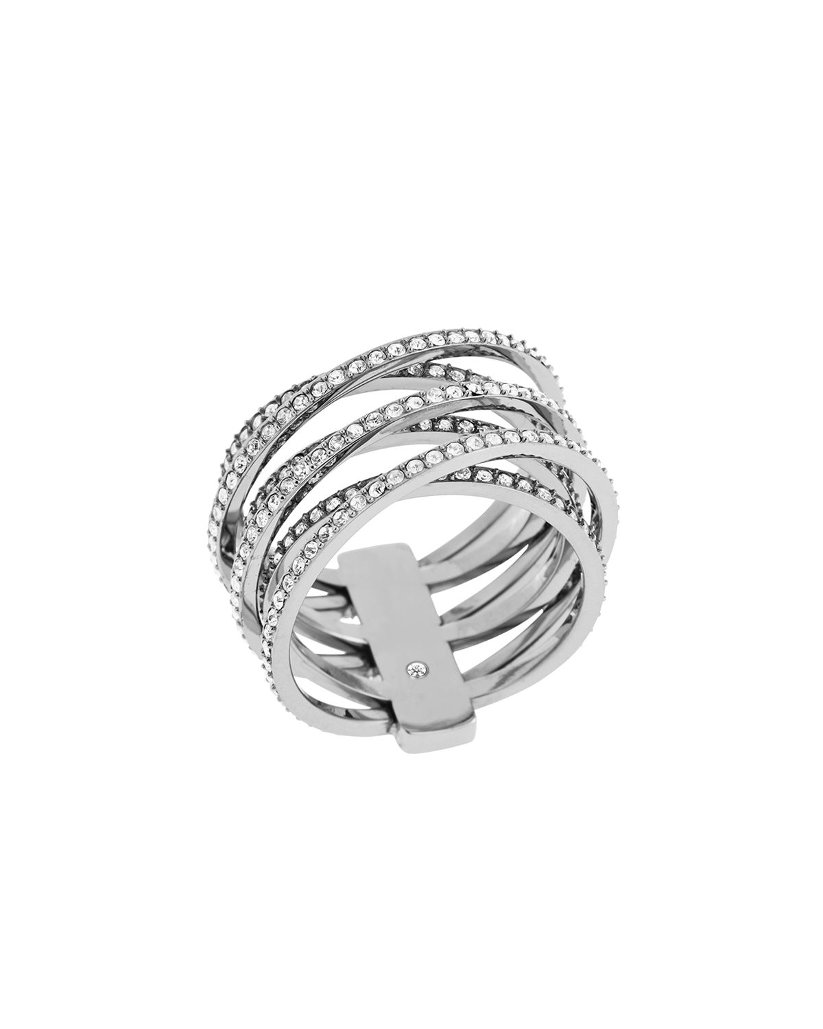 michael kors pave crisscross band ring in silver lyst