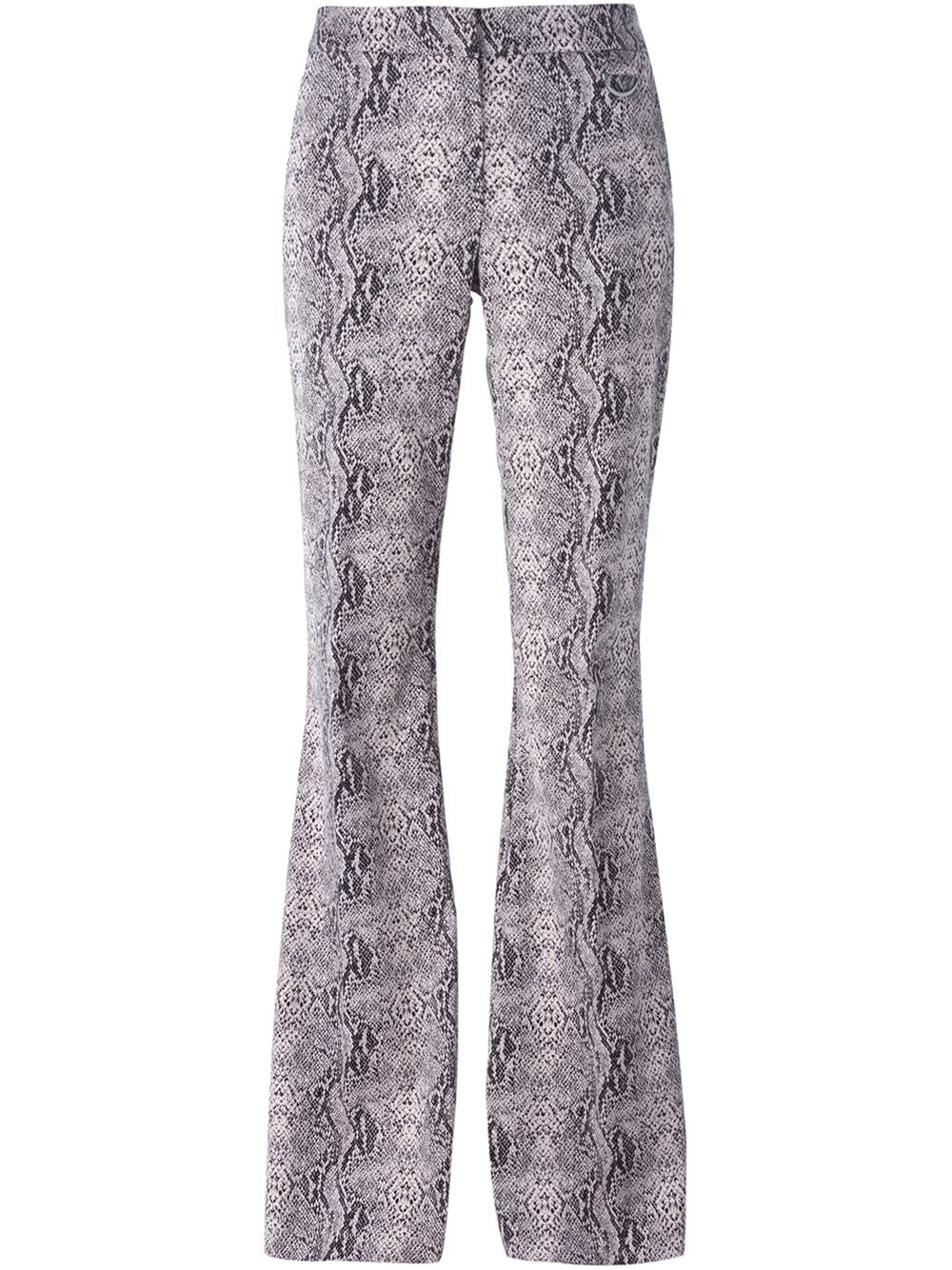 d0e258884e Giamba Pink Snakeskin Print Flared Trousers