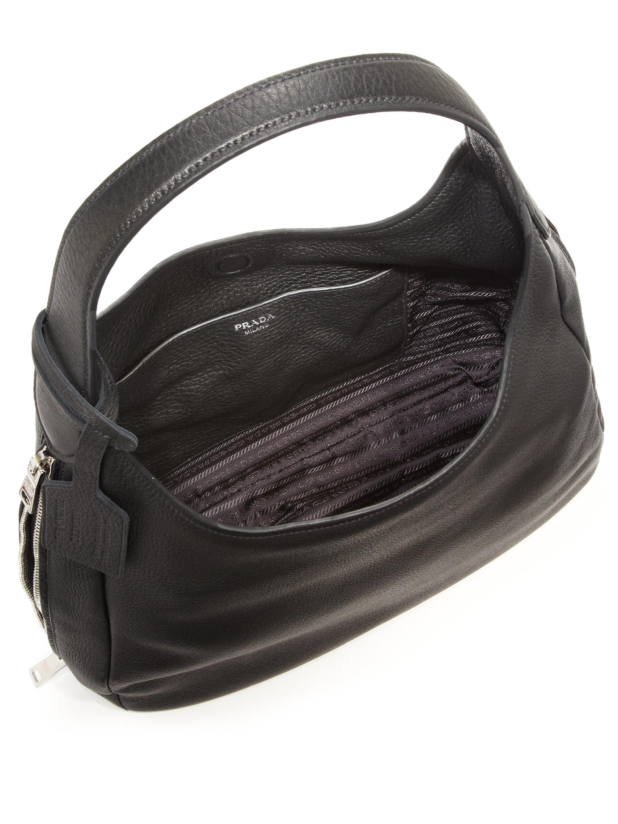 wholesale prada purses - Prada Deerskin Hobo Bag in Black | Lyst