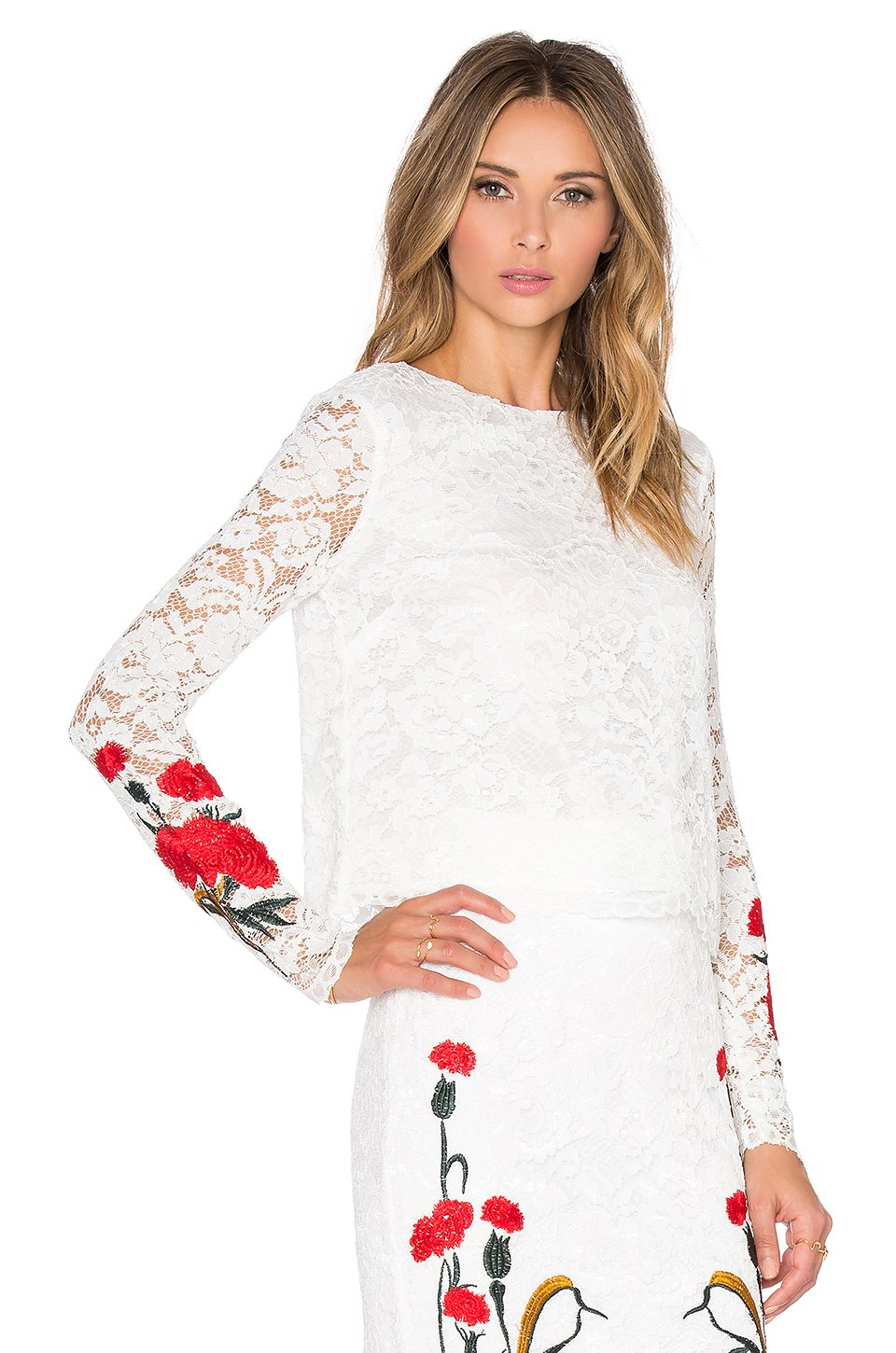 Lyst endless rose floral embroidered crop top in white