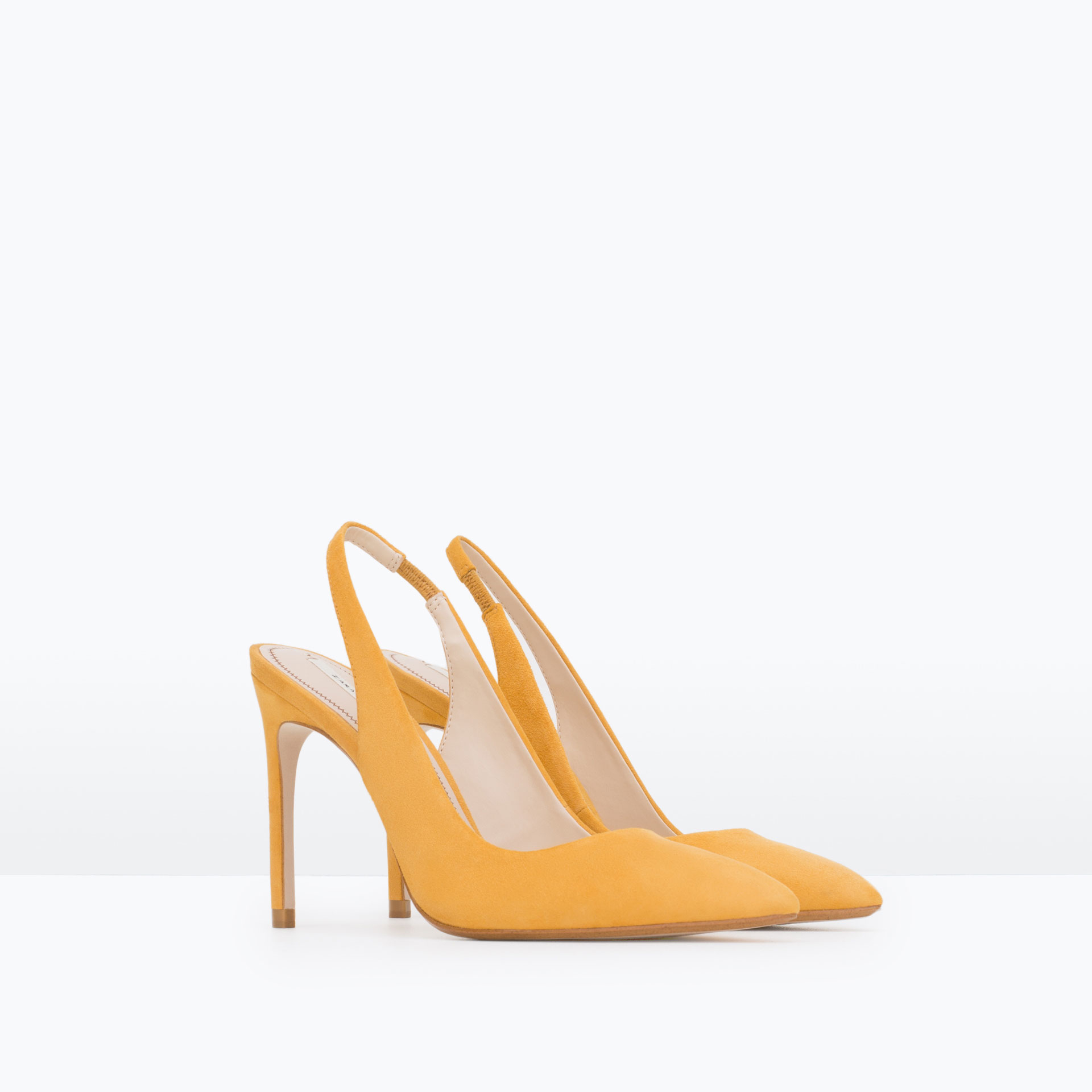 Zara Slingback High Heel Leather Shoes in Yellow | Lyst