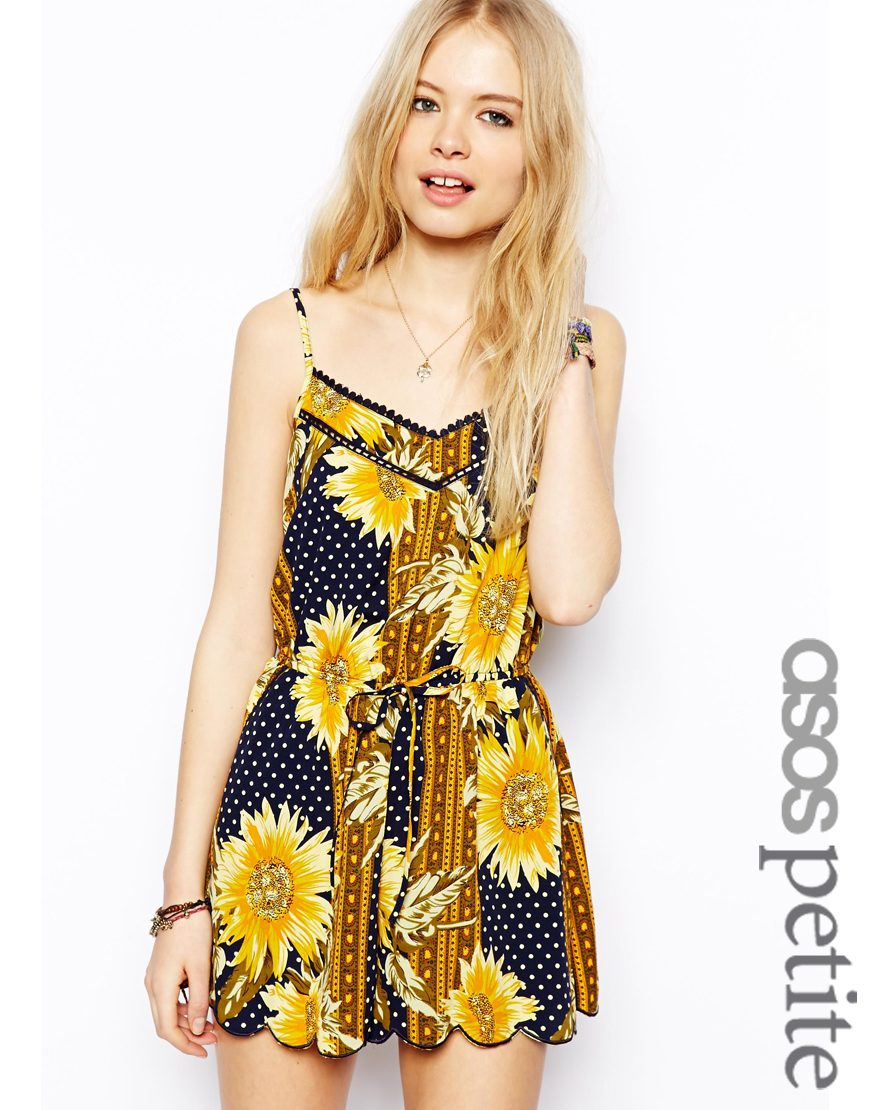 f92c41032b Lyst - ASOS Exclusive Playsuit in 90s Sunflower Print