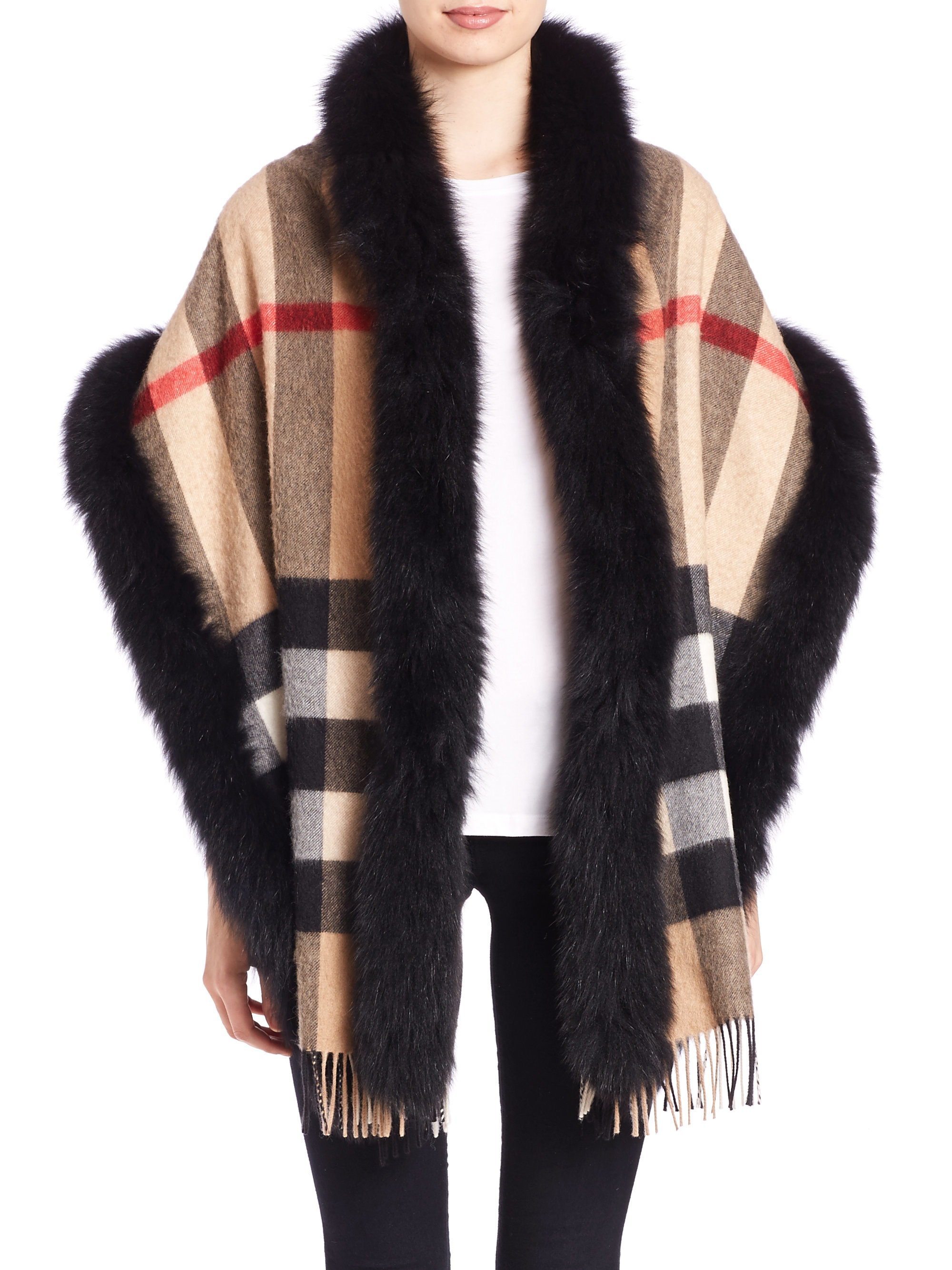 burberry fox fur trimmed house check cashmere scarf in black lyst. Black Bedroom Furniture Sets. Home Design Ideas