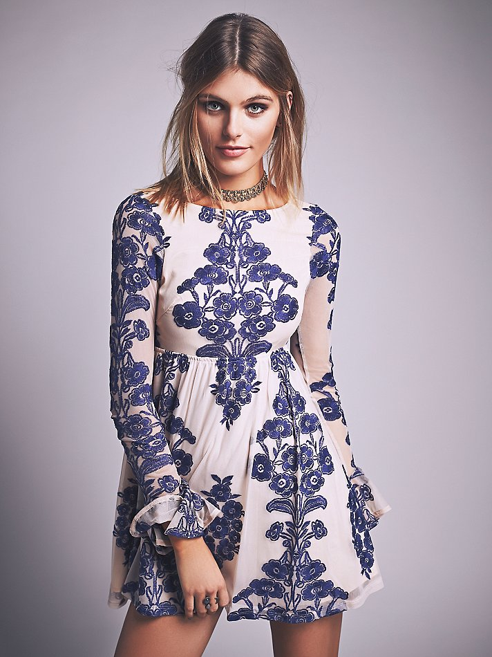 Free people Temecula Mini Dress in Blue | Lyst