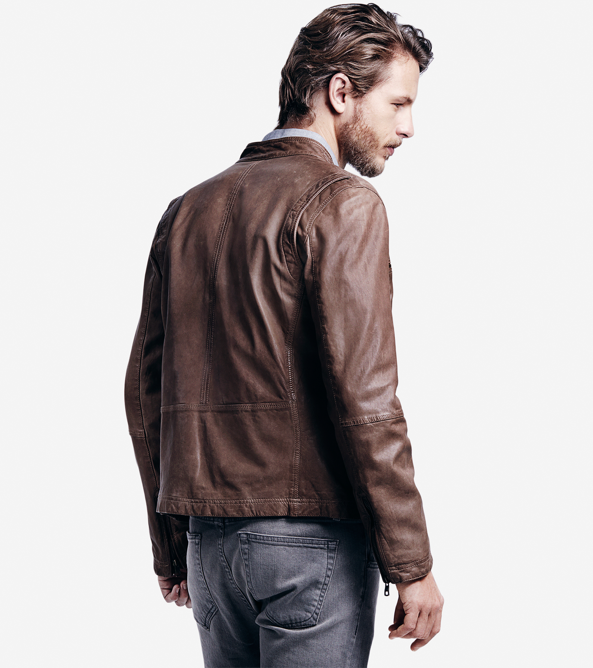 Cole Haan Vintage Lamb Moto Jacket In Brown For Men Lyst
