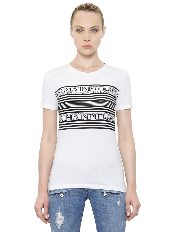 Lyst balmain logo stripe print cotton jersey t shirt in for Balmain white logo t shirt