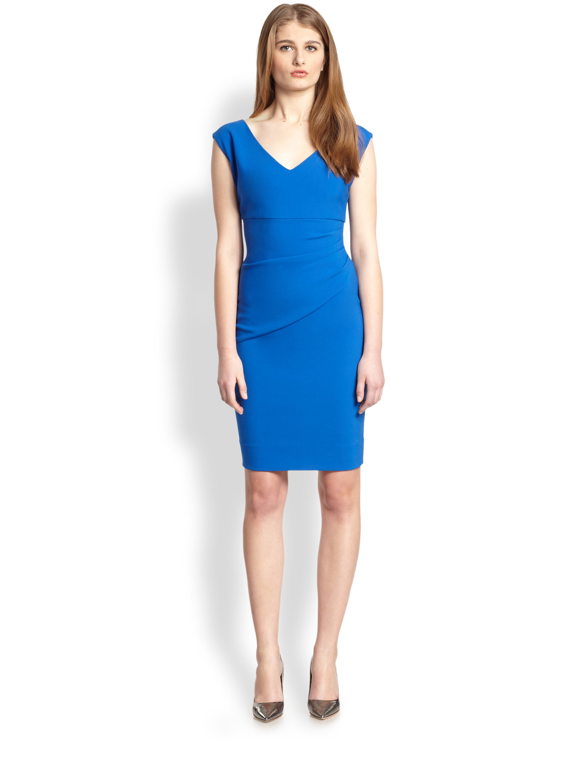 diane von furstenberg bevin ruched knit dress in blue blue diamond lyst. Black Bedroom Furniture Sets. Home Design Ideas
