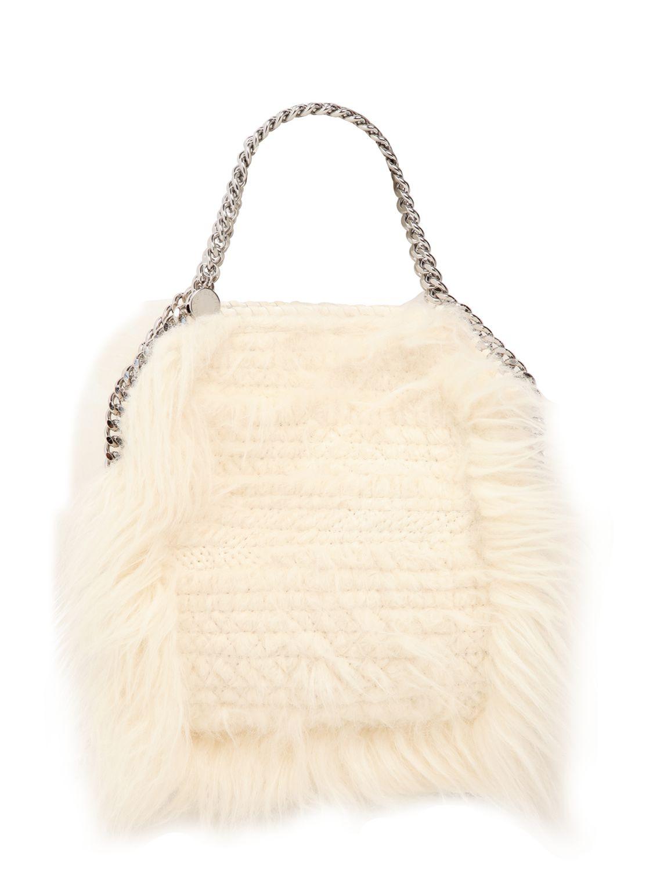 664a2bef4e91 Lyst - Stella McCartney Mini 3chain Falabella Faux Fur Bag in Natural