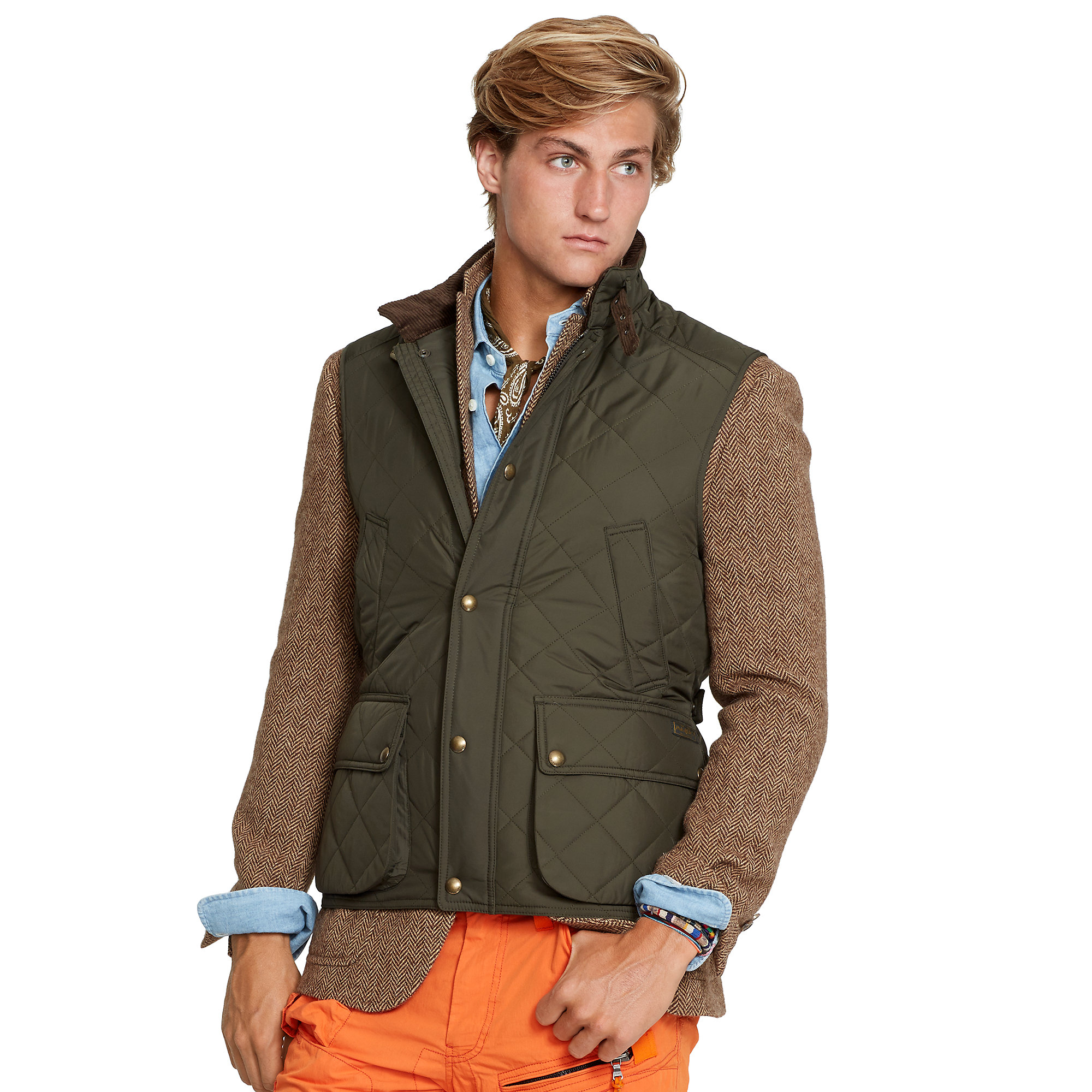 Quilted Lauren Green Diamond Ralph Polo Vest For Men DH2E9WI