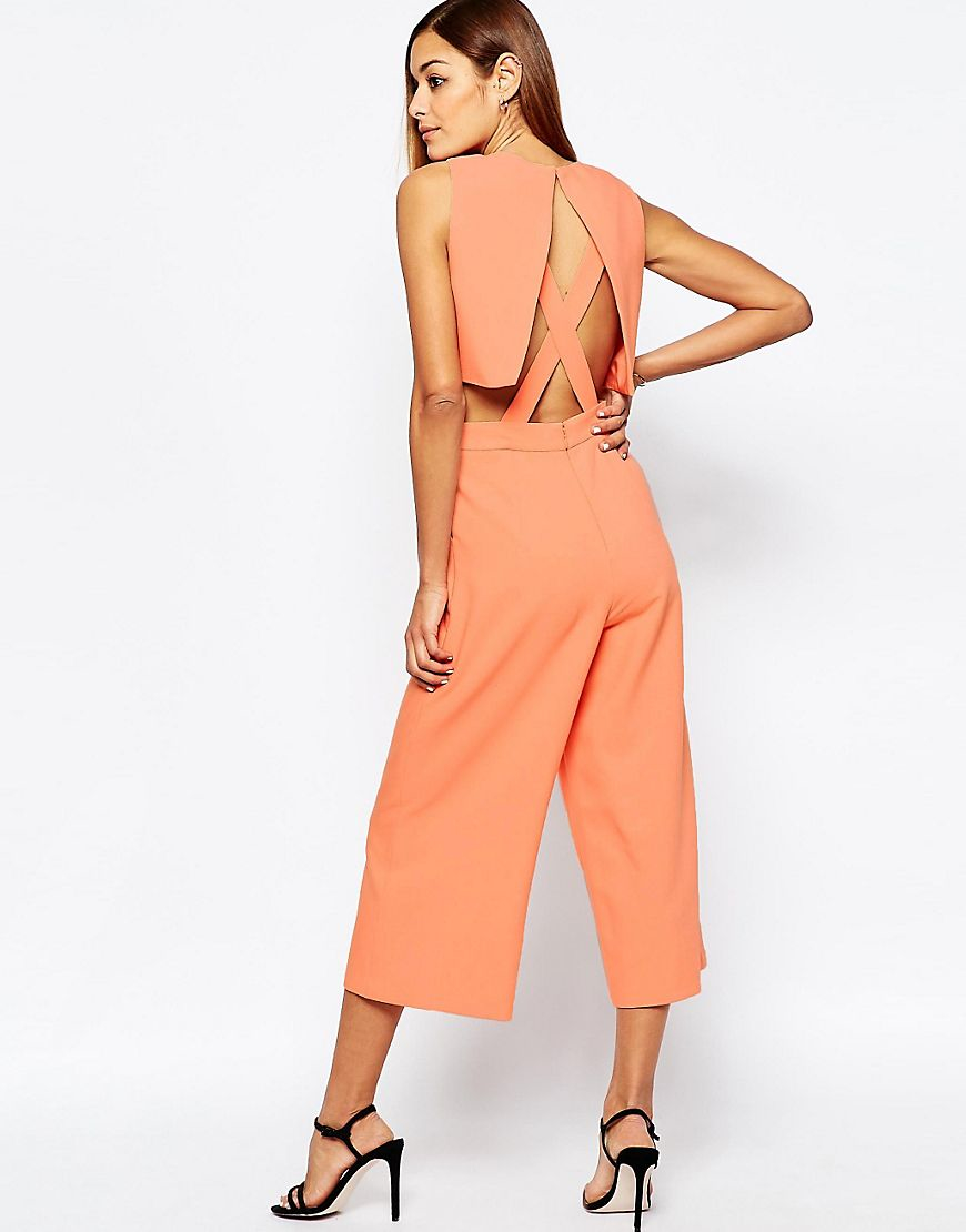 582ad2c8ea3 Asos Jumpsuit With Cut Out Cross Back And Wide Leg in Pink .