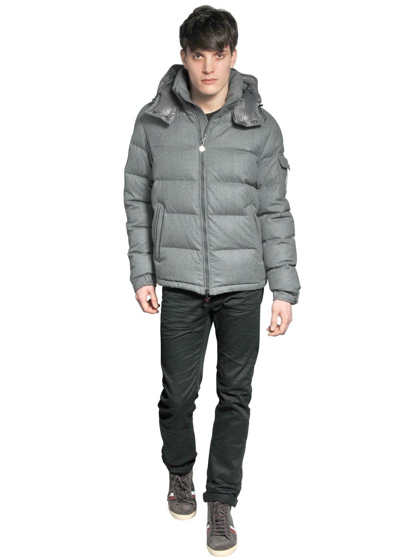 Moncler Montgenevre Light Flannel Down Jacket In Grey