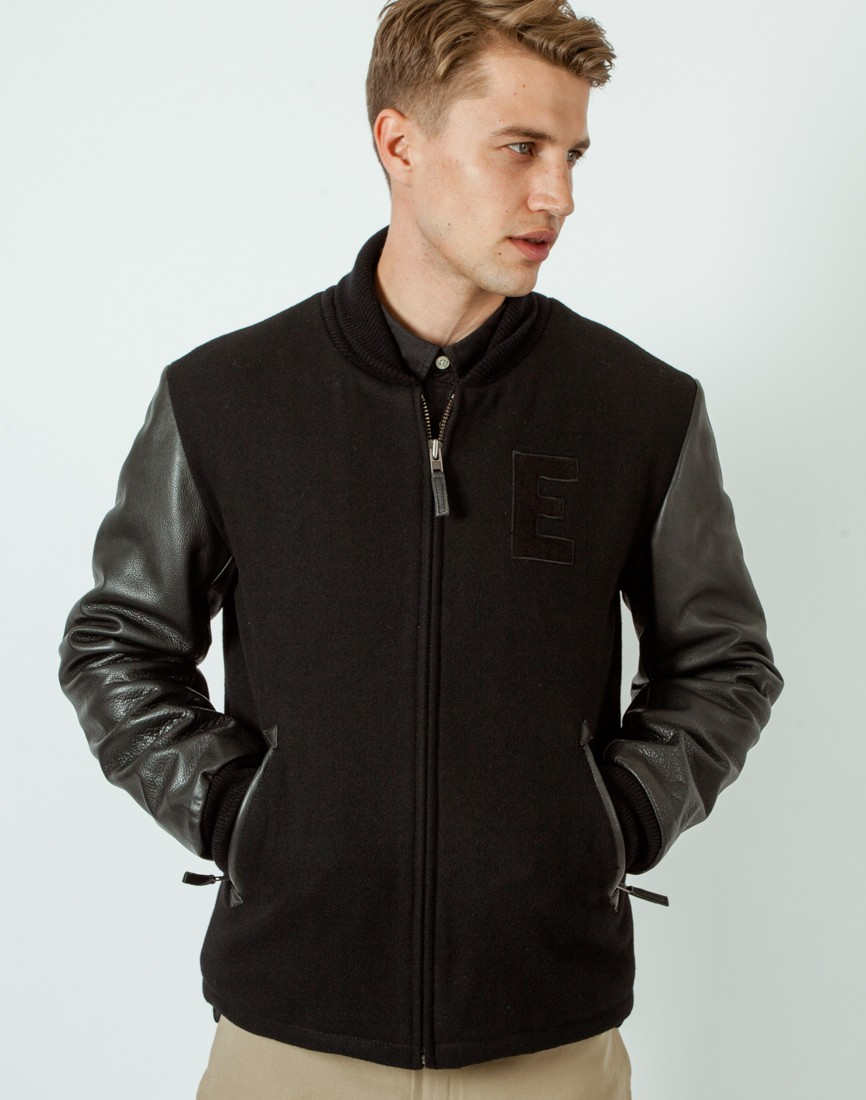 Edwin Baseball Jacket Black in Black for Men | Lyst