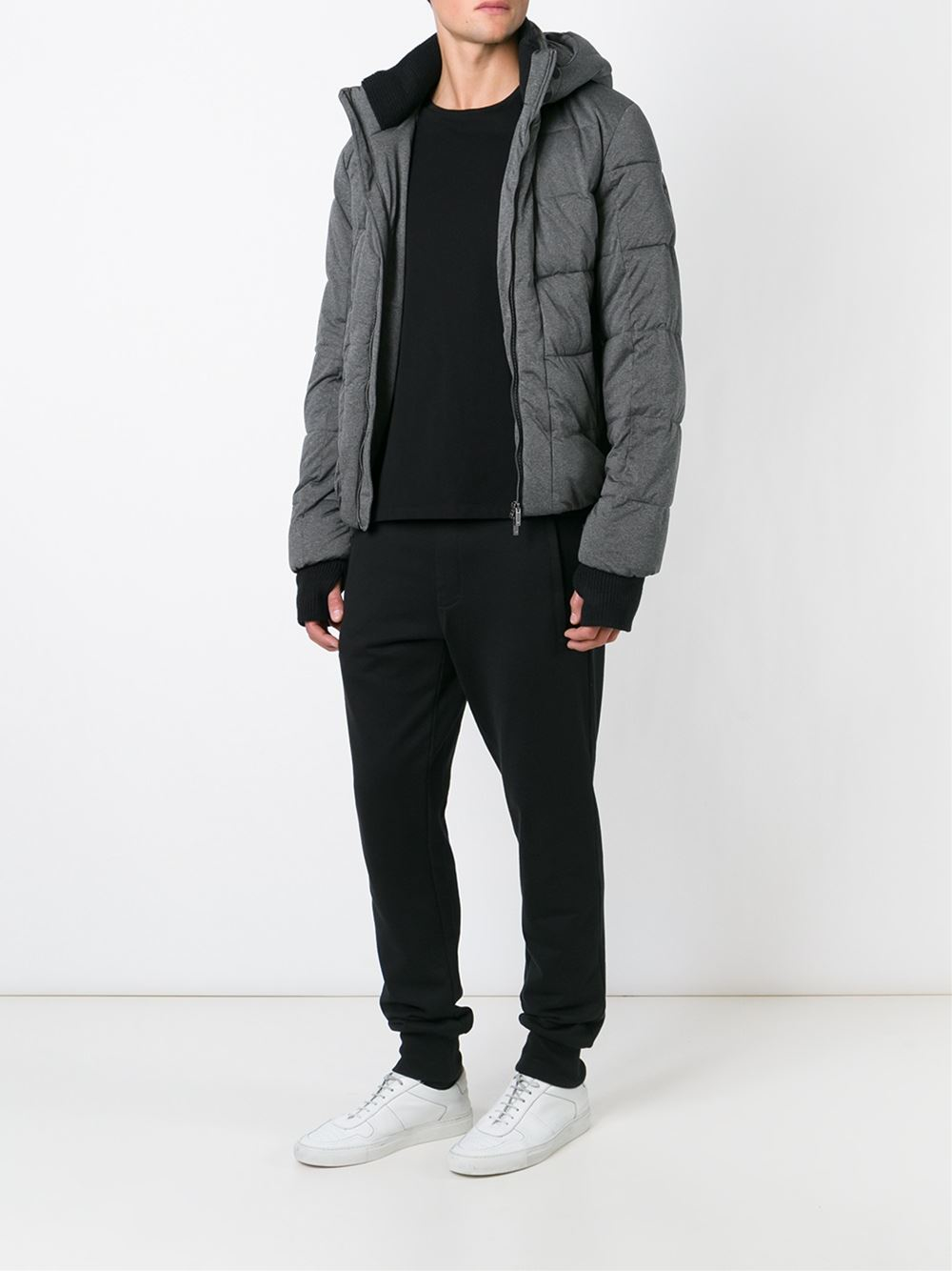 Armani jeans Hooded Padded Jacket in Gray for Men   Lyst : armani jeans quilted jacket - Adamdwight.com