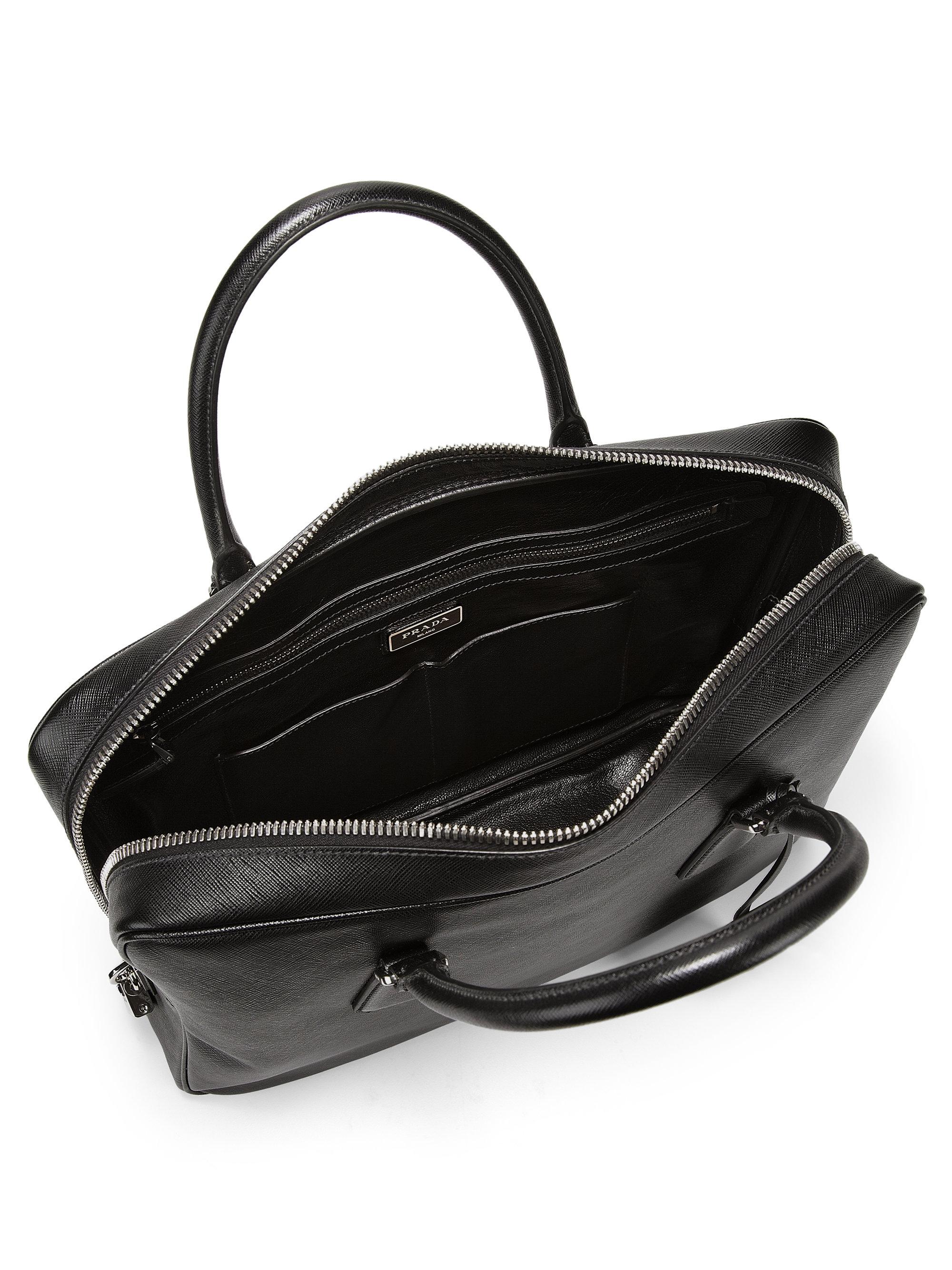prada red flower bag - Prada Saffiano Leather Briefcase in Black for Men | Lyst