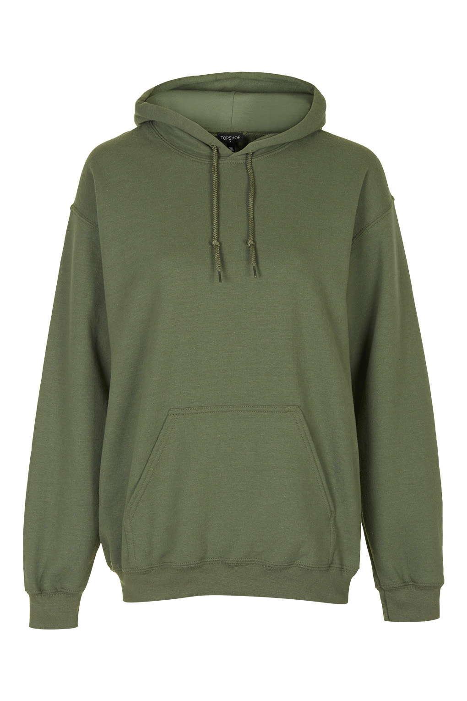 Topshop Khaki Oversized Hoody in Green | Lyst