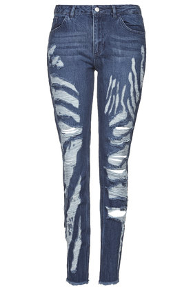TOPSHOP Animal Print Shredded Jeans By Marques'Almeida X in Mid Stone (Blue)
