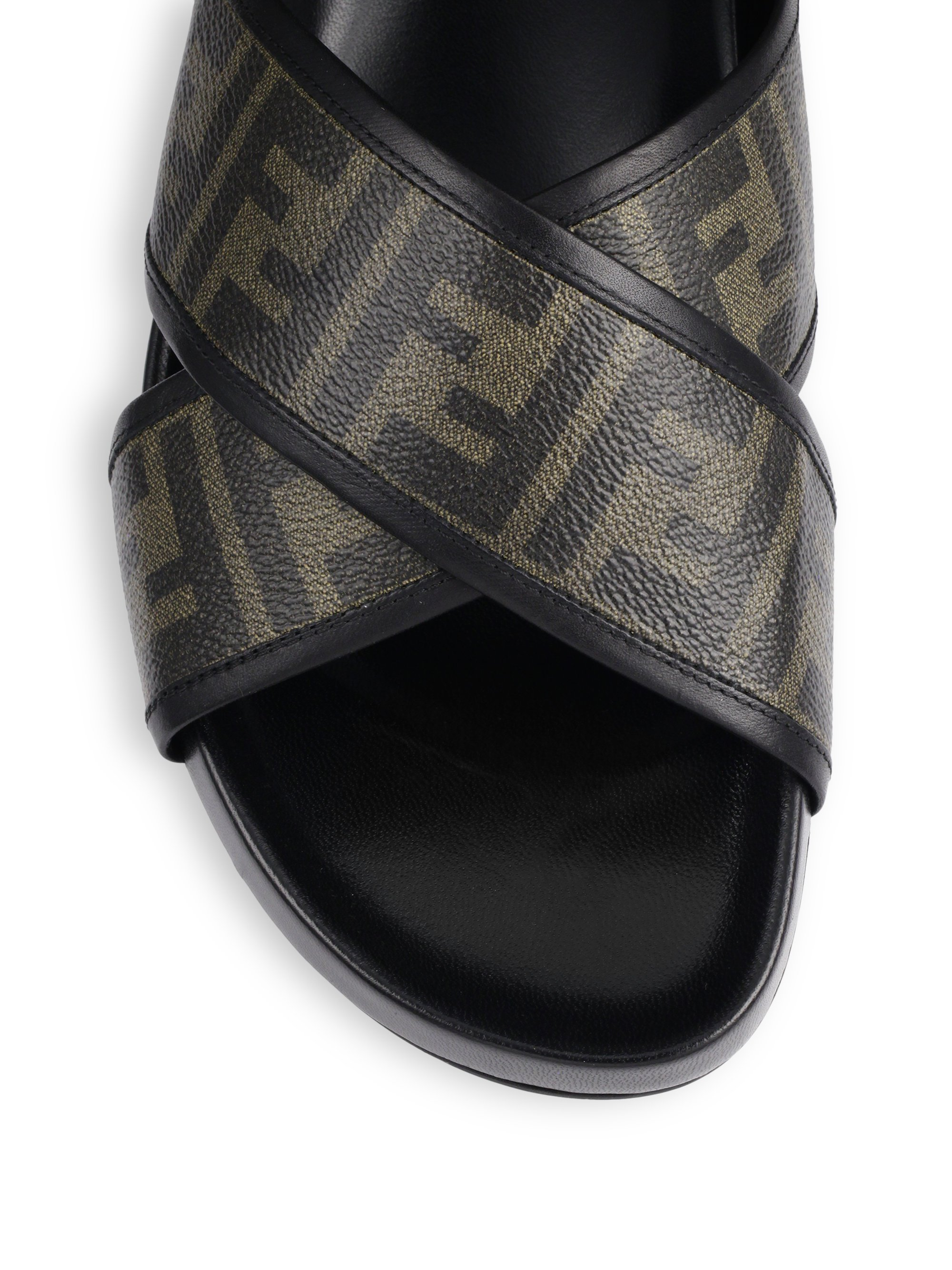 Lyst Fendi Zucca Logo Criss Cross Sandals In Brown For Men