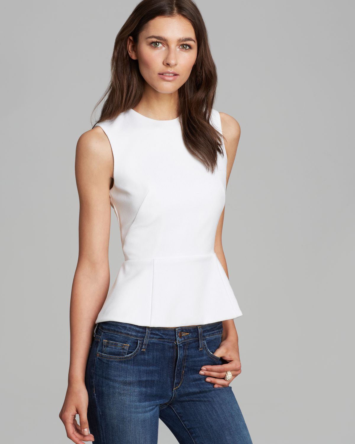 French connection Top Coco Crepe Peplum in White