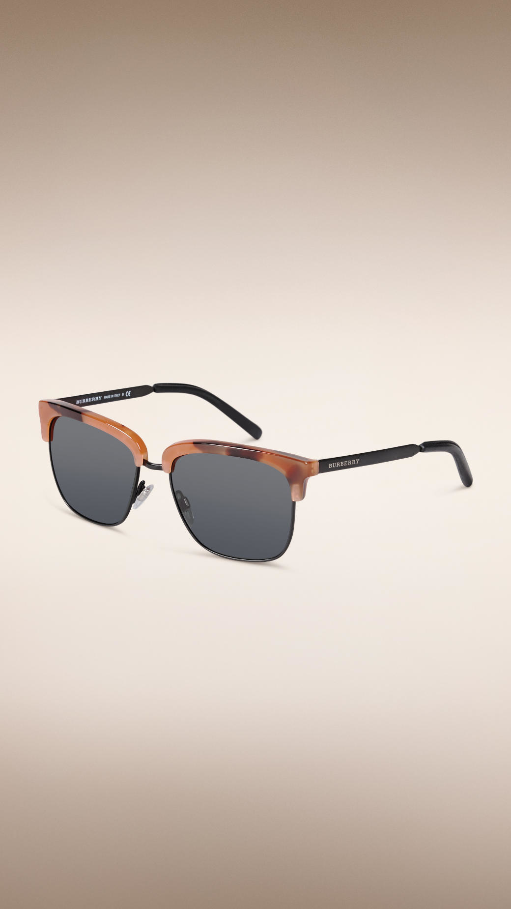 Burberry Trench Collection Square Frame Sunglasses in Tortoise Amber (Black) for Men