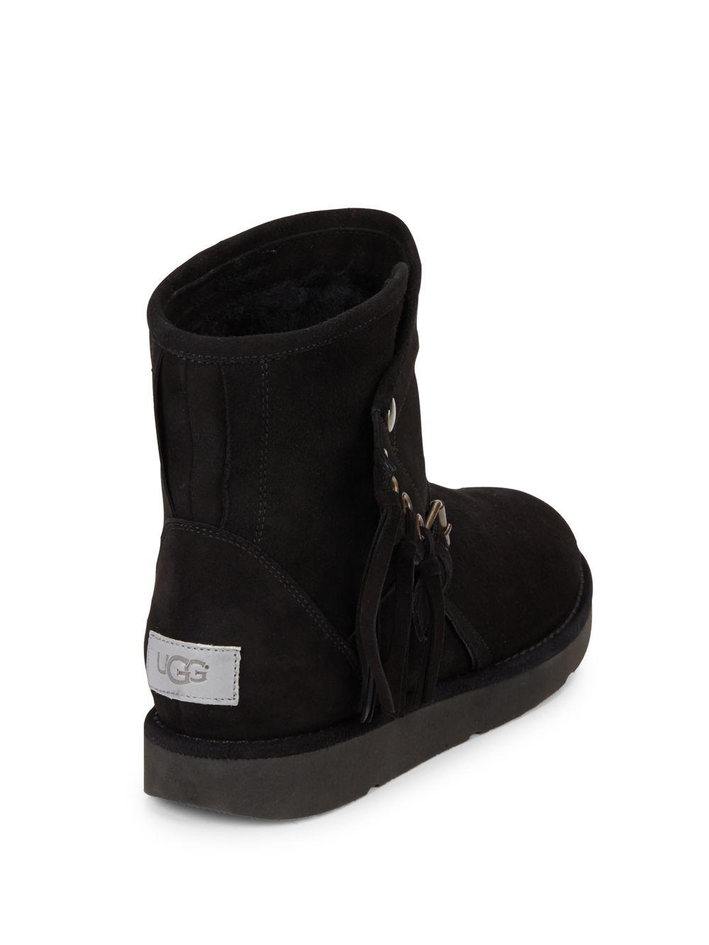 Ugg Karisa Fur Trimmed Suede Buckle Ankle Boots In Black