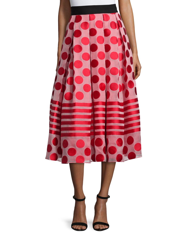 sachin babi polka dot striped midi skirt in
